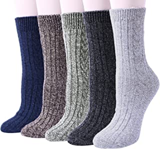 5 Pairs Womens Knit Warm Casual Wool Crew Winter Socks