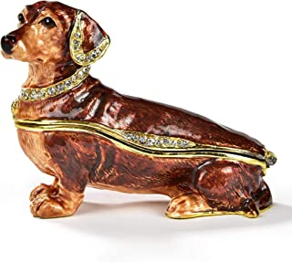 KALIFANO Decorative Dog Jewelry/Keepsake Box with Swarovski Element Crystals for Storage and Organization - Handmade Magnetic Trinket Box Brown Dauchshund