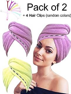 Hair Towel Microfiber EURICA Turban Head Wrap Microfiber Towel Bath Towels Hair Wrap Hair Towel Wrap Hair Cap Towel Wraps Hair Drying Towels Fast Drying Purple & Yellow Pack of 2 + 4 Hair Clips