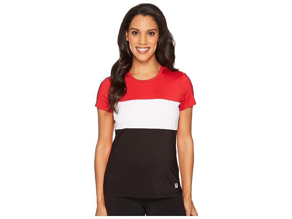 Fila Heritage Tennis Cap Sleeve Top (Crimson/White/Black) Women's Short Sleeve Pullover, Multi