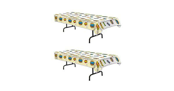 54 x 108 Multicolored Beistle 59894 2Piece Hero Tablecovers