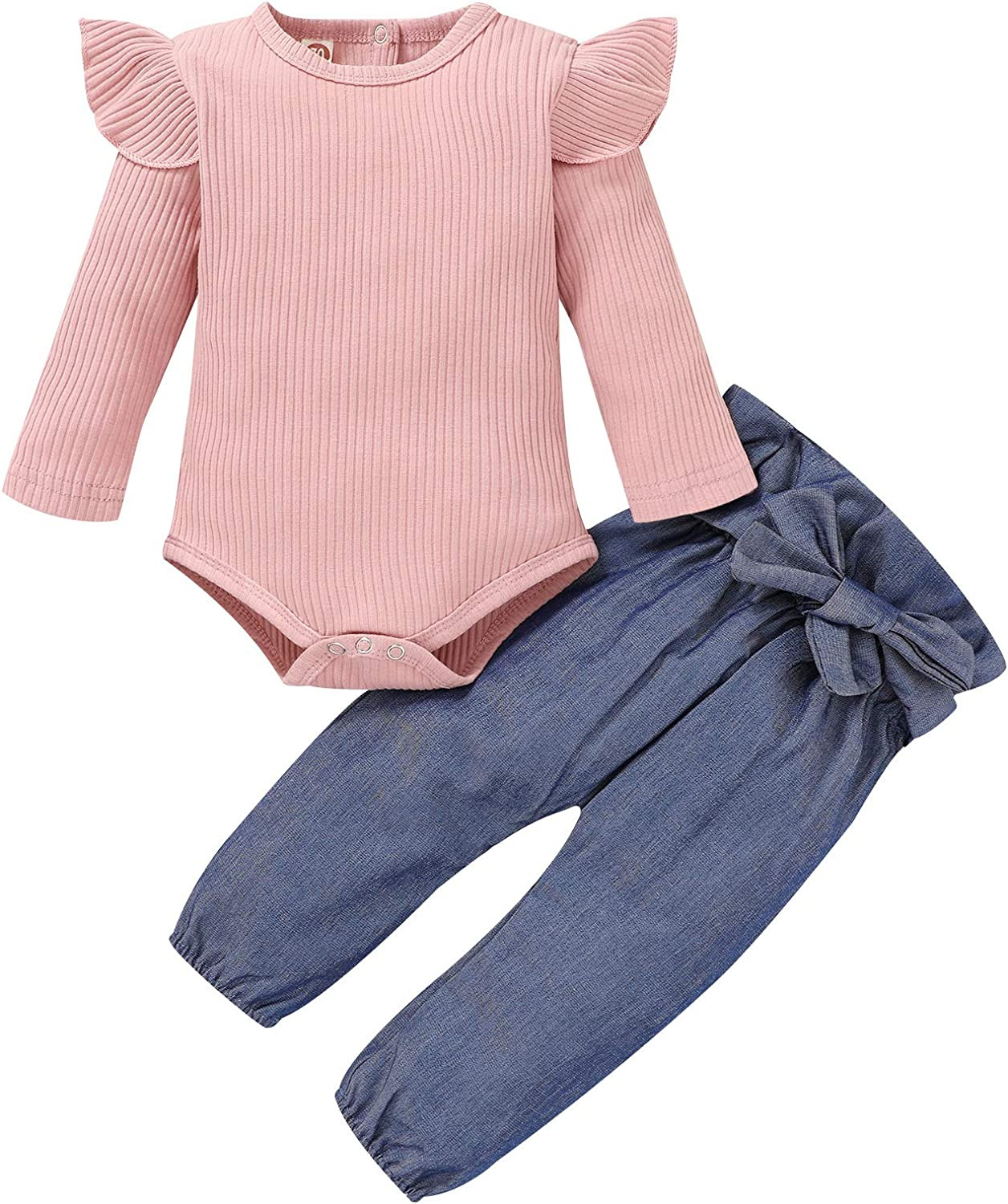 Newborn Baby Girl Outfits,Infant Long Sleeve Ruffle Tops Romper Bodysuit and Floral Pants Clothes with Headband 3PCS