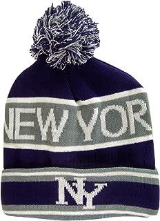 New York City NY Men's 2-Tone Winter Knit Pom Beanie Hats