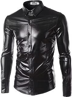 JOGAL Men's Metallic Silver Disco Long Sleeve Button Down Shirts