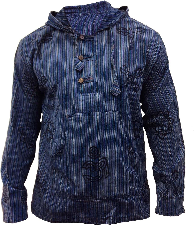 SHOPOHOLIC FASHION Mens Stonewashed Grandad Hooded Max 48% OFF Striped Shirt Spasm price
