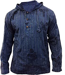 Mens Stonewashed Striped Hooded Grandad Shirt