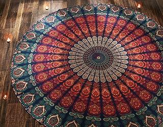 RAJRANG BRINGING RAJASTHAN TO YOU Boho Mandala Roundie - Gypsy Hippie Tapestry Decorative Cotton Tablecloth Meditation Yoga Mat - Orange - 72 Inches
