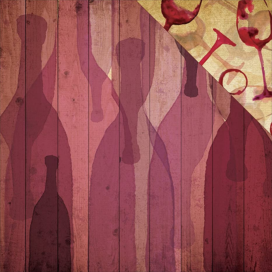 Reminisce TWIN-004 25 Sheet a Bottle of Red Winery Double-Sided Cardstock, 12