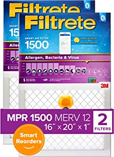 Best Filtrete 16x20x1, Smart Replenishable AC Furnace Air Filter, MPR 1500, Allergen, Bacteria & Virus, 2-Pack (exact dimensions 15.72 x 19.72 x 1.1) Review