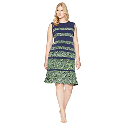 MICHAEL Michael Kors Plus Size Paisley Paneled Sleeveless Dress (True Navy/Green Apple Multi) Women