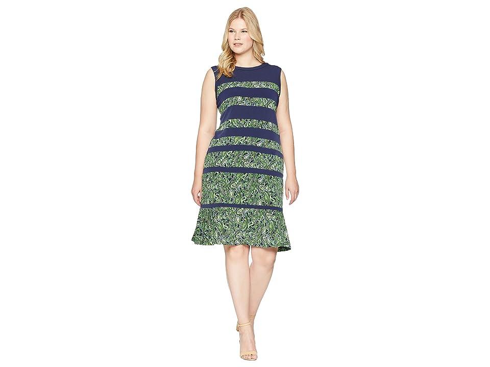 MICHAEL Michael Kors Plus Size Paisley Paneled Sleeveless Dress (True Navy/Green Apple Multi) Women