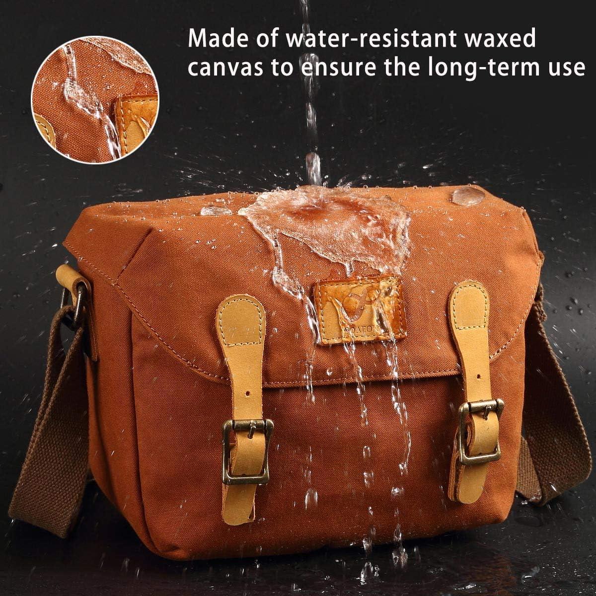 Canon Olympus Medium Camera Bag SLR//DSLR Shoulder Bag Canvas Removable Inserts Messenger Bag Waterproof Digital Camera for Sony Orange