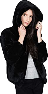 Women's Real Rex Rabbit Fur Hooded Jacket | Soft, Luxurious and Warm Winter Coat with Hood - Black