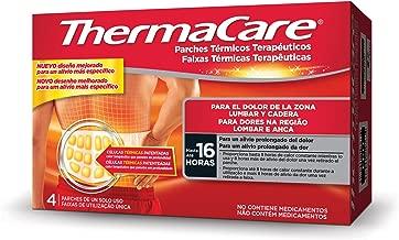 Thermacare Parche Térmico Terapéutico para el Dolor Lumbar y Cadera, Alivio Prolongado del Dolor Hasta 16 Horas, Sin Medicamentos, 4 Unidades