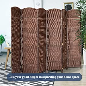 U-MAX Room Divider,6 FT Tall Weave Fiber Room Divider,Double Hinged,6 Panel Room Divider & Folding Privacy Screens, Freestanding Brown Room Dividers
