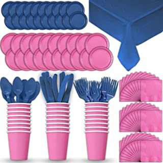 Paper Tableware Set for 24 - Hot Pink & Blue - Dinner and Dessert Plates, Cups, Napkins, Cutlery (Spoons, Forks, Knives), and Tablecloths - Full Two-Tone Party Supplies Pack