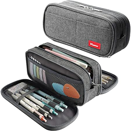 Large Pencil Case Big Capacity Pencil Bag Portable Office Stationery Makeup Bag School Supplies Suitable for Middle High School College Students Girls Boys Teen Storage Organizer Gift(Gray)