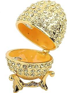 HERCHR Boîte à Bijoux pour Filles Boîte à Bijoux en métal émaillé Style œuf, boîte à Bijoux décorative dorée à charnières