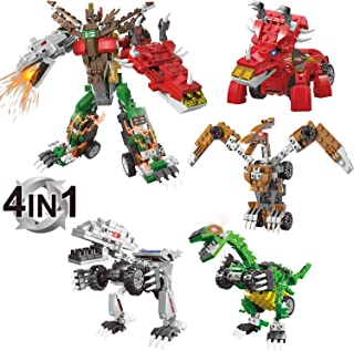 LUYE Dinosaur Building Blocks 473pcs 4 Models Build and Play Toy Car Turn into Dinosaur Construction Learning Kits for Kids Gift