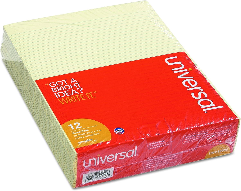 Glue Top Writing Pads, Narrow Rule, Ltr, Canary, 50-Sheet Pads Pack, Dozen B009NKSWA8 | Mittel Preis
