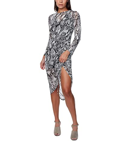 Bebe Printed Mesh Long Sleeve Ruched Dress