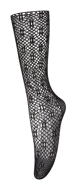 (ラボーグ)La Vogue レディース フィッシュネット ハイソックス ニーハイ 網タイツ ソックス 美脚 靴下 ひざ下丈 ショートストッキング 女性 シースルー ブラック