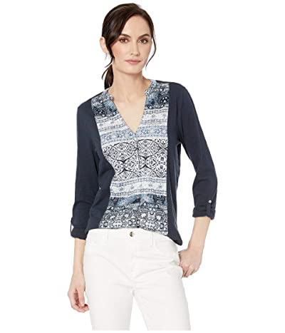 Lucky Brand Printed Button Front Top (Navy Multi) Women