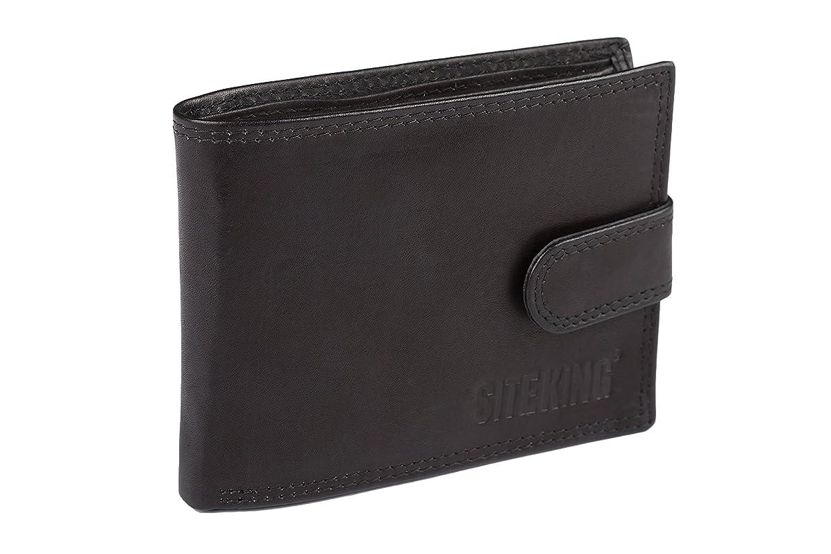 博覧会数字ペックメンズレザーキャッシュ&カード財布SITE KING - NOTES COINS&CARDS用ブラックまたはタン(クラシックサイドウォレット、ブラック)