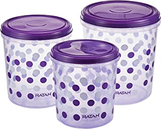 Ratan Plastic CRYSTAL THREADED LID CONTAINERS PRINTED-3PC SET(Purple)