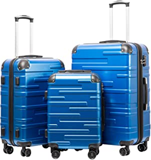 """Coolife Luggage Expandable(only 28"""") Suitcase 3 Piece Set with TSA Lock Spinner 20in24in28in (blue)"""