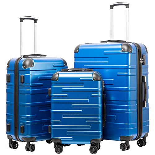 Super Lightweight 4 Wheel 360/°Spinner Check-in Hold Luggage Suitcase Travel Trolley Case for Leisure Business College,Blue,27inches