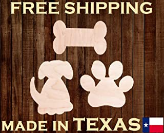 Surprising Set of 3 Dog Puppy Pawprint Bone Unfinished 14 Thick Wood Laser Cutout Shape Crafts Paintable