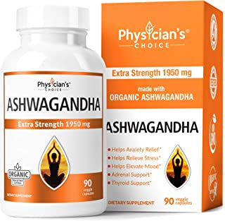 Ashwagandha 1950mg Organic Ashwagandha Root Powder Extract of Black Pepper Anxiety..