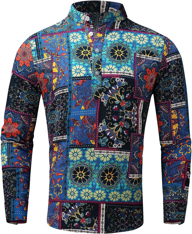 Beshion Men's Cotton Linen Shirt Ethnic Printed Stand-up Collar Long Sleeve Button up Lightweight Tops Blouse