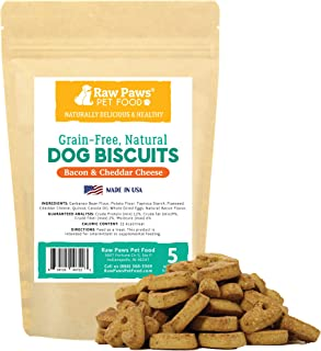 Raw Paws Natural, Grain-Free Dog Biscuits - Crunchy, Oven-Baked Dog Treats Made in USA Only - Wheat, Corn & Soy Free - Small, Heart Shaped Treats Perfect for Puppies and Training