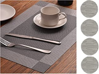 FiveRen Table Mats Washable Non Slip Kitchen Plastic Dining Placemats and Coasters(Set of 4, Gray