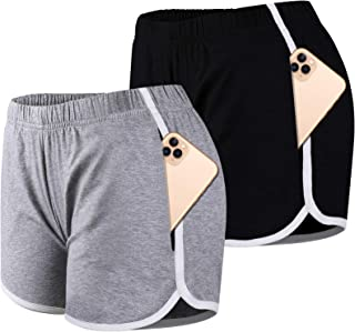 Bodybay 2 Pack Women Dolphin Shorts with Pockets Elastic Waist Cotton Shorts Booty Shorts Yoga Athletic Running Workout