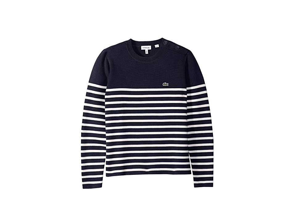 Lacoste Kids Milano Striped Buttoned Sweater (Toddler/Little Kids/Big Kids) (Navy Blue/Flour) Boy
