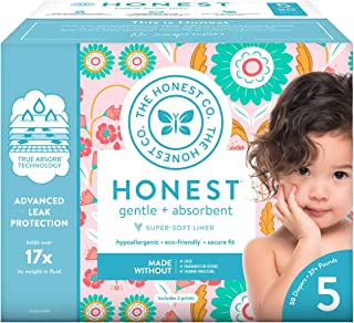 The Honest Company Club Box Flower Child Diapers with Trueabsorb Technology, Size 5, 50Count