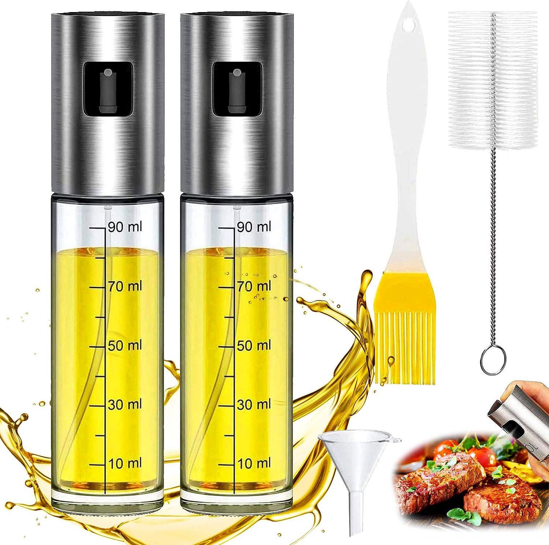 /Ölspr/üher Flasche f/ür Kochen mit Backpinsel /Öl Sprayer mit Skala Reinigenb/ürste und /Öltrichter GlasFlasche Essig Spender Salat WELLXUNK/® /Öl Spr/ühflasche Doppelt Pasta Usw BBQ