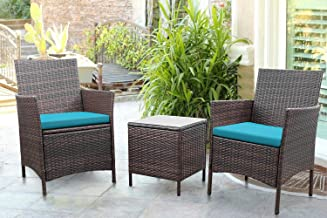 Greesum 3 Pieces Outdoor Patio Furniture Sets, PE Rattan Wicker Chair Conversation Sets with Soft Cushion and Glass Coffee...