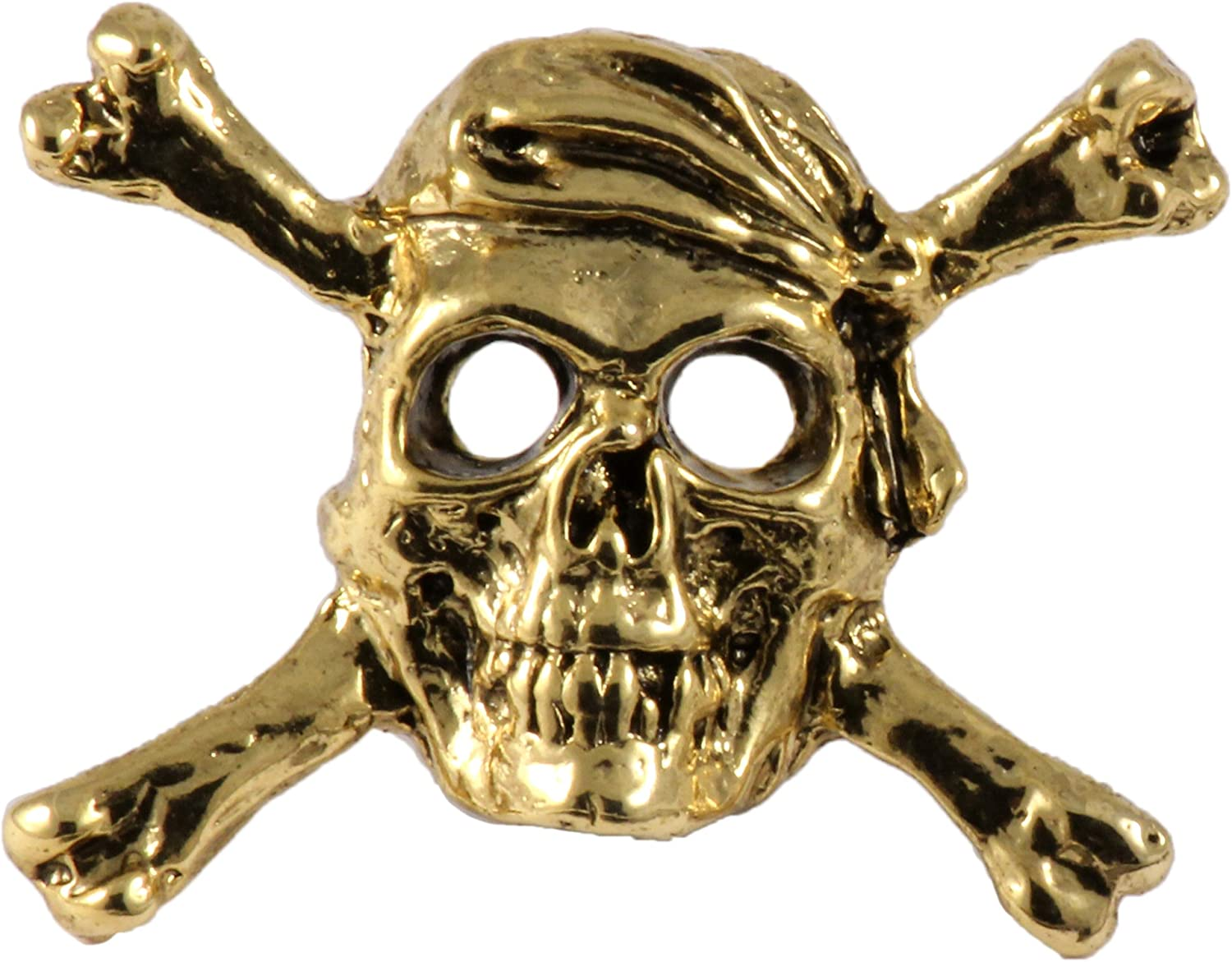 Creative Pewter Designs Pirate Skull & Crossbones 22k Gold Plated Lapel Pin, Brooch, Jewelry, AG167