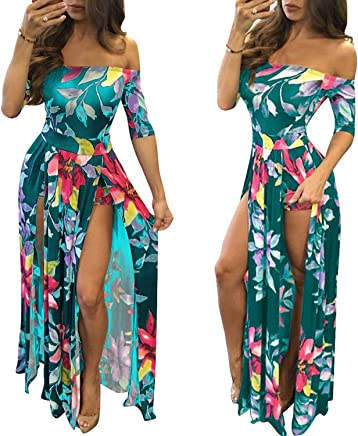 d0410d080ea Romper Split Maxi Dress High Elasticity Floral Print Short Jumpsuit Overlay  Skirt for Summmer Party Beach