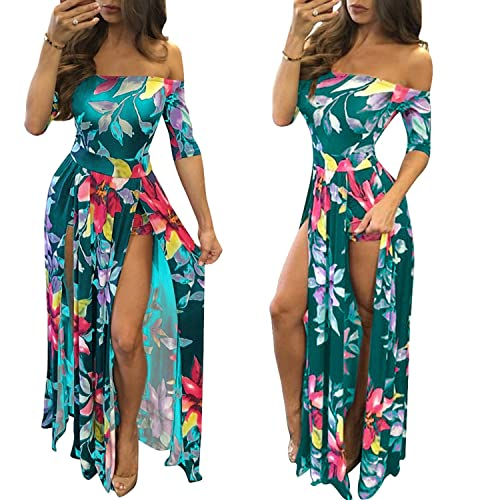 5347837ef69 Romper Split Maxi Dress High Elasticity Floral Print Short Jumpsuit Overlay  Skirt for Summmer Party Beach