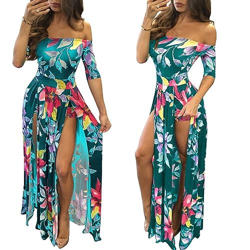 fb37b519738 Romper Split Maxi Dress High Elasticity Floral Print Short Jumpsuit Overlay  Skirt for Summmer Party Beach