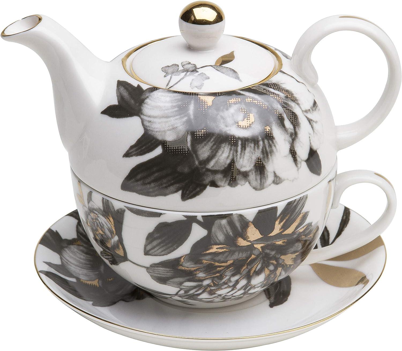 Grace Teaware Porcelain 4-Piece Tea Fashion One Black Sales for sale For Peony Gold