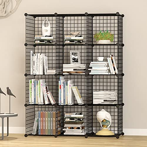 DIY Closet Cabinet by House of Quirk Metal Wire Storage Cubes Organizer (12 - Regular Cube) (35x35 Per Cube Size)