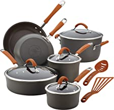 Rachael Ray 87635 Cucina Dishwasher Safe Hard Anodized Nonstick Cookware Pots and Pans Set, 12 Piece, Gray with Orange Han...