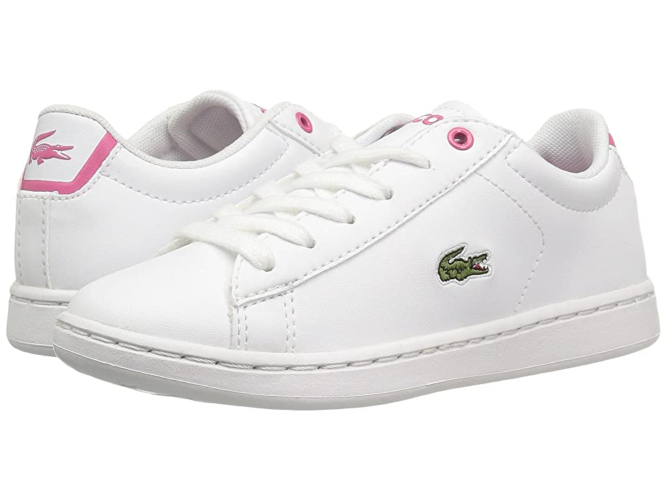 Lacoste Kids Carnaby Evo (Little Kid) (White/Pink) Kids Shoes
