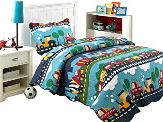 HNNSI Cotton Kids Quilt Bedspread Set Queen Size for Boys 3PCS, Cute Train Comforter Toddler Teens Bedding Sets, Cartoon Pattern Bed Sheet Sets